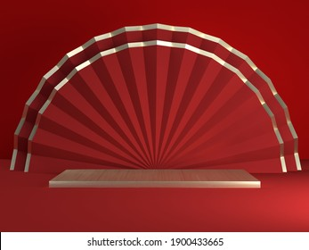 Chinese new year,Chinese Festivals,Happy Mid Autumn festival with empty pedestal template for product display decorated with folded paper fans on red gold background .3D rendering