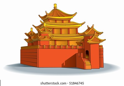 Chinese pagoda, in detail, raster from vector illustration