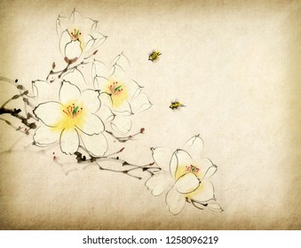 Chinese painting of blossoming magnolia tree.