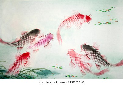 Chinese painting of carp