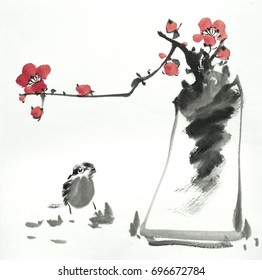 Chinese painting of flowers, plum blossom at vase,with bird.