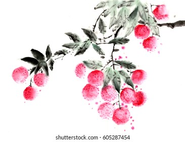 Chinese painting litchi and chicken
