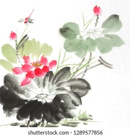 Chinese painting of a Lotus with dragonfly