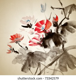 Chinese painting of morning glory, traditional artwork on art paper.