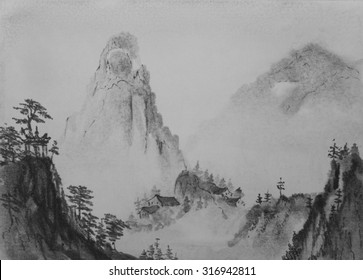 Chinese painting mountains and pine