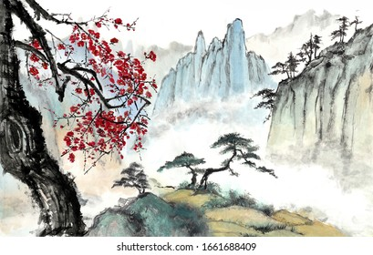 Chinese painting of mountains and rivers Clouds and pines High mountains of Huangshan