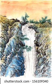 chinese painting sunset waterfall,on paper