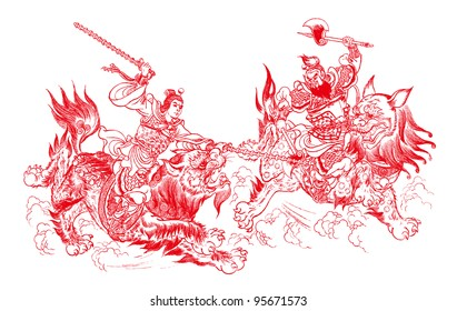 Chinese paper cutting - Water Margin story of Wu Song Fights the Tiger