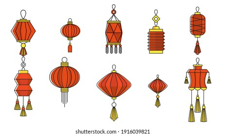Chinese paper lanterns set. Oriental, Asia and Japan culture. Asia culture symbols, graphic modern illustration. For New year greeting card decoration. Flat illustration.