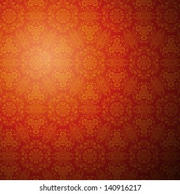 Chinese pattern background. Illustration for your fashion design. Stylish elements for web design. Eastern red and golden ornamental. Book and wall cover. Raster version.