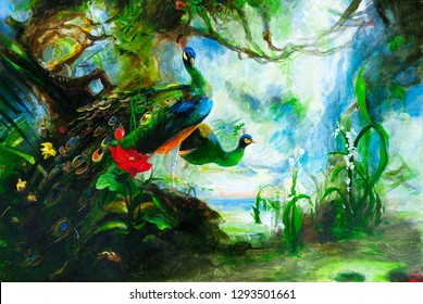 Chinese peacocks in the green garden. Oil painting