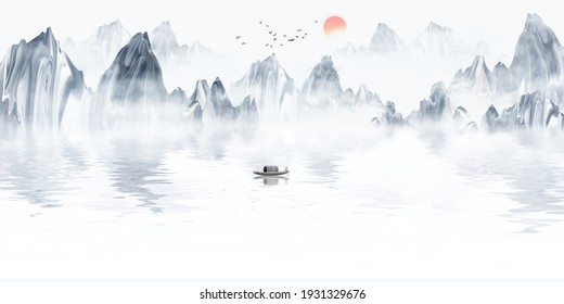 Chinese style background blue mood ink landscape painting
