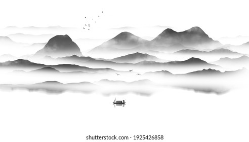 Chinese style background mood ink landscape painting