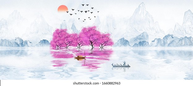 Chinese style blue artistic conception landscape illustration