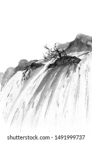 Chinese style. Ink painted waterfall. Background with mountains.Black and white image. Ink Chinese mountain landscape. Mountains in the fog. Trees on the mountain.