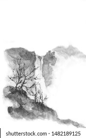 Chinese style. Waterfall in the mountains. Background with mountains. Ink mountain. Black and white image. Ink Chinese mountain landscape. Mountains in the fog. Trees on the mountain.