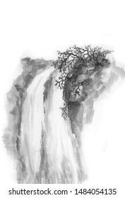 Chinese style. Waterfall in the mountains. Background with mountains. Ink mountain. Black and white image. Ink Chinese mountain landscape. Mountains in the fog. Trees on the mountain. Ink image.