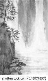 Chinese style. Waterfall in the mountains. Black and white image. Ink Chinese mountain landscape.