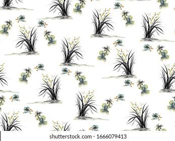 Chinese stylish plant digital print pattern
