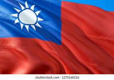 Chinese Taipei flag. 3D Waving flag design. The national symbol of Taiwan, 3D rendering. Chinese Taipei National colors. Taiwan 3D Waving sign background design. 3D ribbon, wallpaper, background