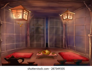 Chinese tea ceremony. Tea Room. Illustration. Night tea house for a traditional tea party. with bamboo screens and Chinese lanterns.