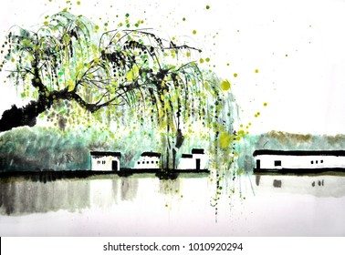Chinese traditional distinguished gorgeous decorative hand-painted ink landscape