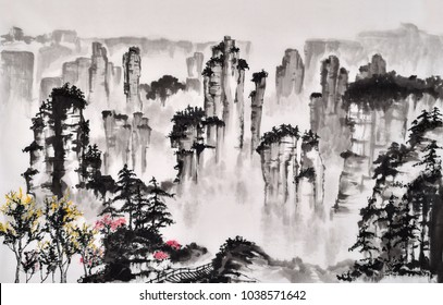 Chinese traditional distinguished gorgeous decorative hand-painted ink landscape famous tourist sites  Zhangjiajie