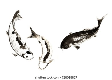 Chinese traditional distinguished gorgeous decorative hand-painted ink-carp