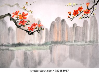 Chinese traditional distinguished gorgeous decorative hand-painted ink Kapok flower Guilin landscape