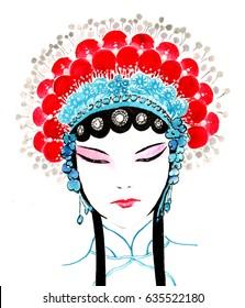 Chinese Traditional Hand Painting - Chinese Peking Opera