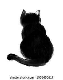 Chinese traditional hand-painted ink: black cat