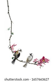Chinese traditional ink brush painting Flowering tree and bird
