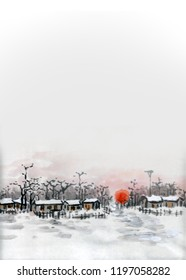 Chinese traditional ink illustration, twenty four solar terms, winter solstice