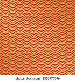 Chinese traditional ornament background, red golden clouds. Japanese patterns set