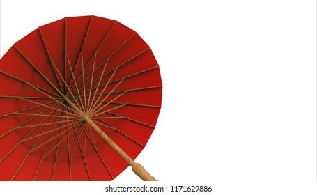 Chinese umbrella rad and isolate background / Illustration Art