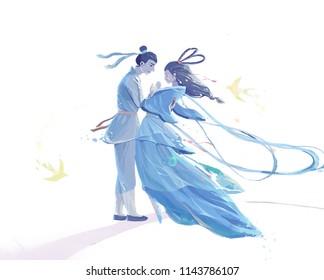 Chinese valentine's day illustration