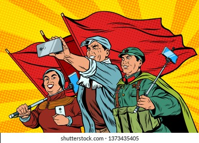 Chinese workers with smartphones selfie, poster socialist realism. Pop art retro  illustration