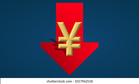 The Chinese Yuan or the Japanese Yen currency is going down. A red arrow with the monetary symbol is showing downwards on a blue background and indicates the fall.