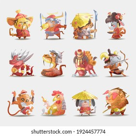 Chinese zodiac animals cartoon set of rabbit dog monkey pig tiger horse dragon goat snake rooster ox rat isolated cartoon hand draw illustration.