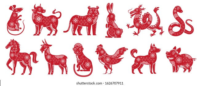 Chinese Zodiac New Year signs. Traditional china horoscope animals, red zodiacs silhouette. Astrological calendar cat, dragon and tiger mascots. Isolated  illustration icons set
