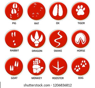 Chinese zodiac signs icons set on red round background.  Paw prints marks , footprints of rat, mouse, snake, dragon, pig, rooster, rabbit, horse, monkey, dog, tiger, ox, bull. Illustration
