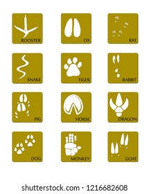 Chinese zodiac signs icons set on on a gold square background. Paw prints marks , footprints of rat, mouse, snake, dragon, pig, rooster, rabbit, horse, monkey, dog, tiger, ox, bull. Illustration