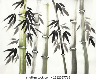 Chinese-style bamboo on a light background