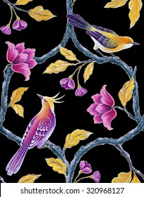 chinoiserie birds, decorative songbird, flowers and leaves, floral trellis background