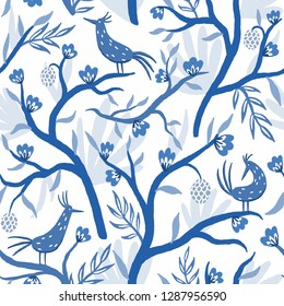 Chinoiserie. Blue and white birds. Seamless pattern