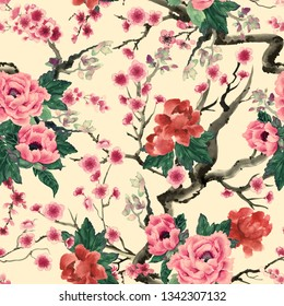 Chinoiserie. Sakura and peony flowers. Watercolor in chinese style. Seamless pattern