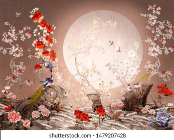 Chinoiserie style picture with abstract birds and plants. Moonlight landscape.
