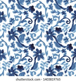 Chinoiserie. Watercolor blue vintage background with blooming flowers. Chinese pattern. Chinoiserie. Seamless pattern