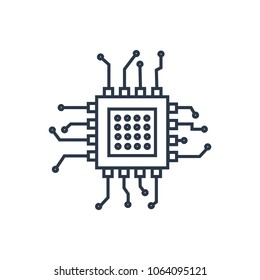 Chip icon. Isolated microprocessor and chip icon line style. Premium quality  symbol drawing concept for your logo web mobile app UI design.