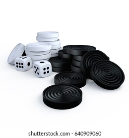 Chips backgammon. Dice backgammon. 3D rendering